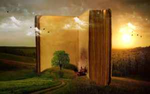 Old book against a sunset and field landscape, with tree growing and a red chair
