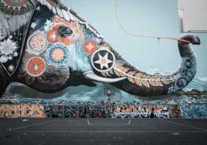 Multi Colored Elephant Graffiti